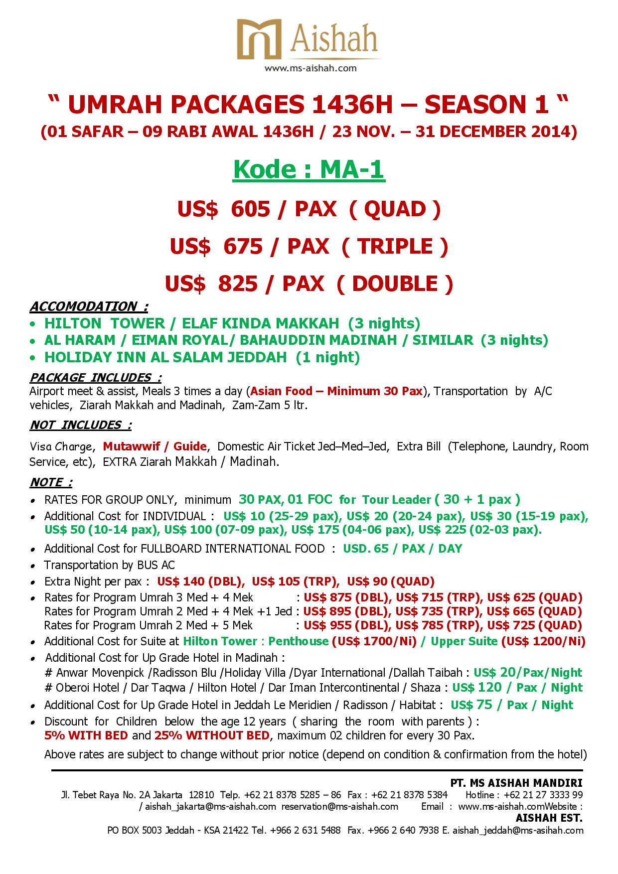 SPECIAL OFFER UMRAH 1436H SEASON 1 - 23 NOVEMBER - 31 DECEMBER 2014 -ma 1
