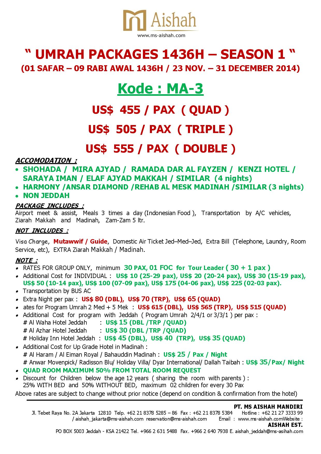 SPECIAL OFFER UMRAH 1436H SEASON 1 - 23 NOVEMBER - 31 DECEMBER 2014 --ma 3