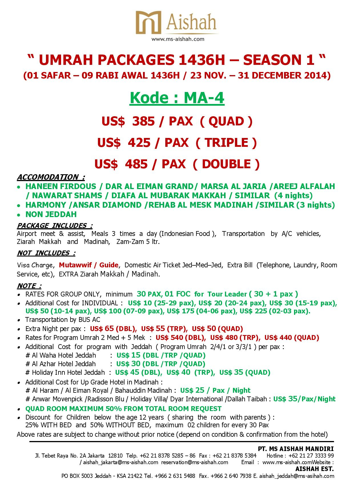 SPECIAL OFFER UMRAH 1436H SEASON 1 - 23 NOVEMBER - 31 DECEMBER 2014 -ma 4