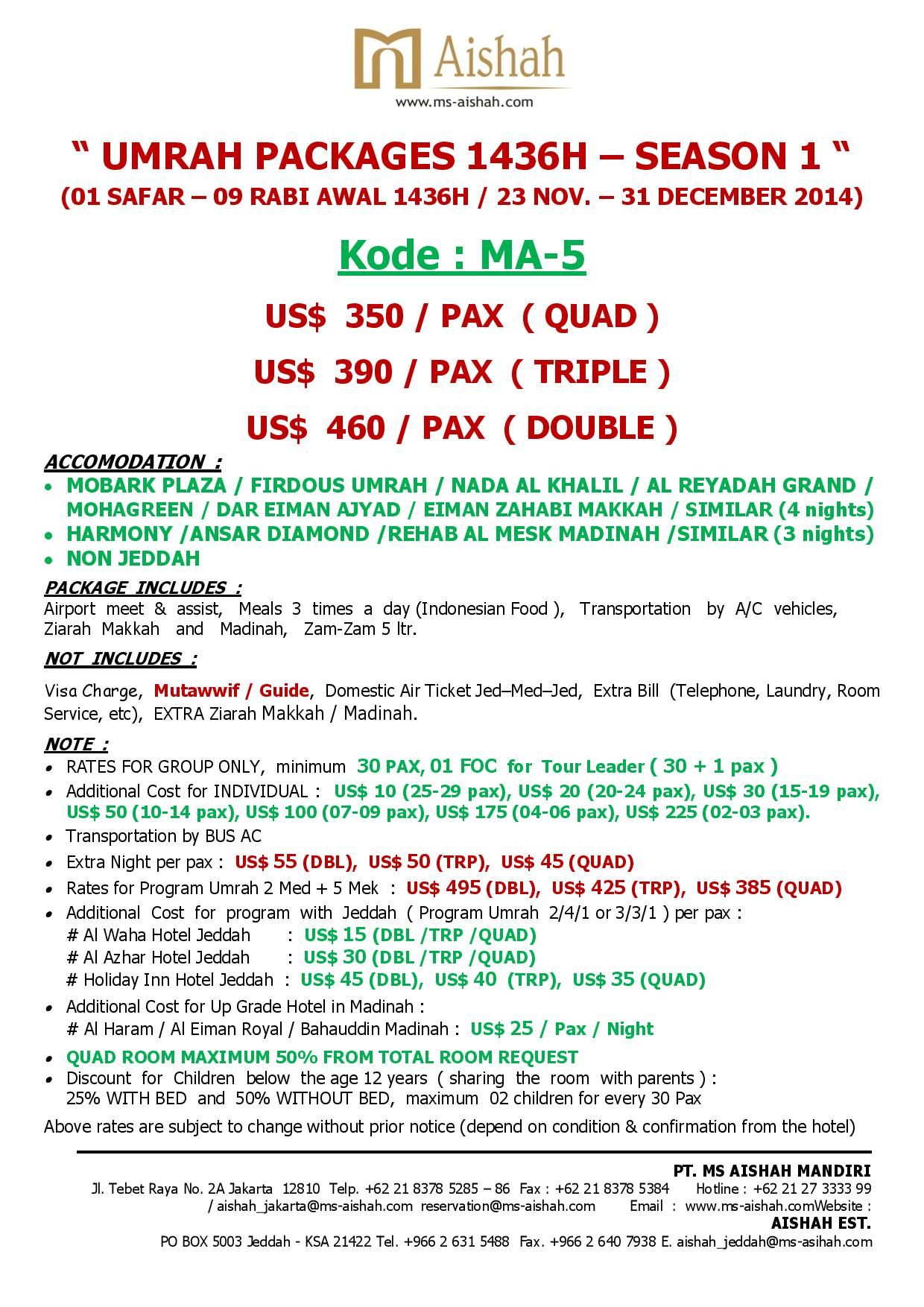SPECIAL OFFER UMRAH 1436H SEASON 1 - 23 NOVEMBER - 31 DECEMBER 2014 - ma5