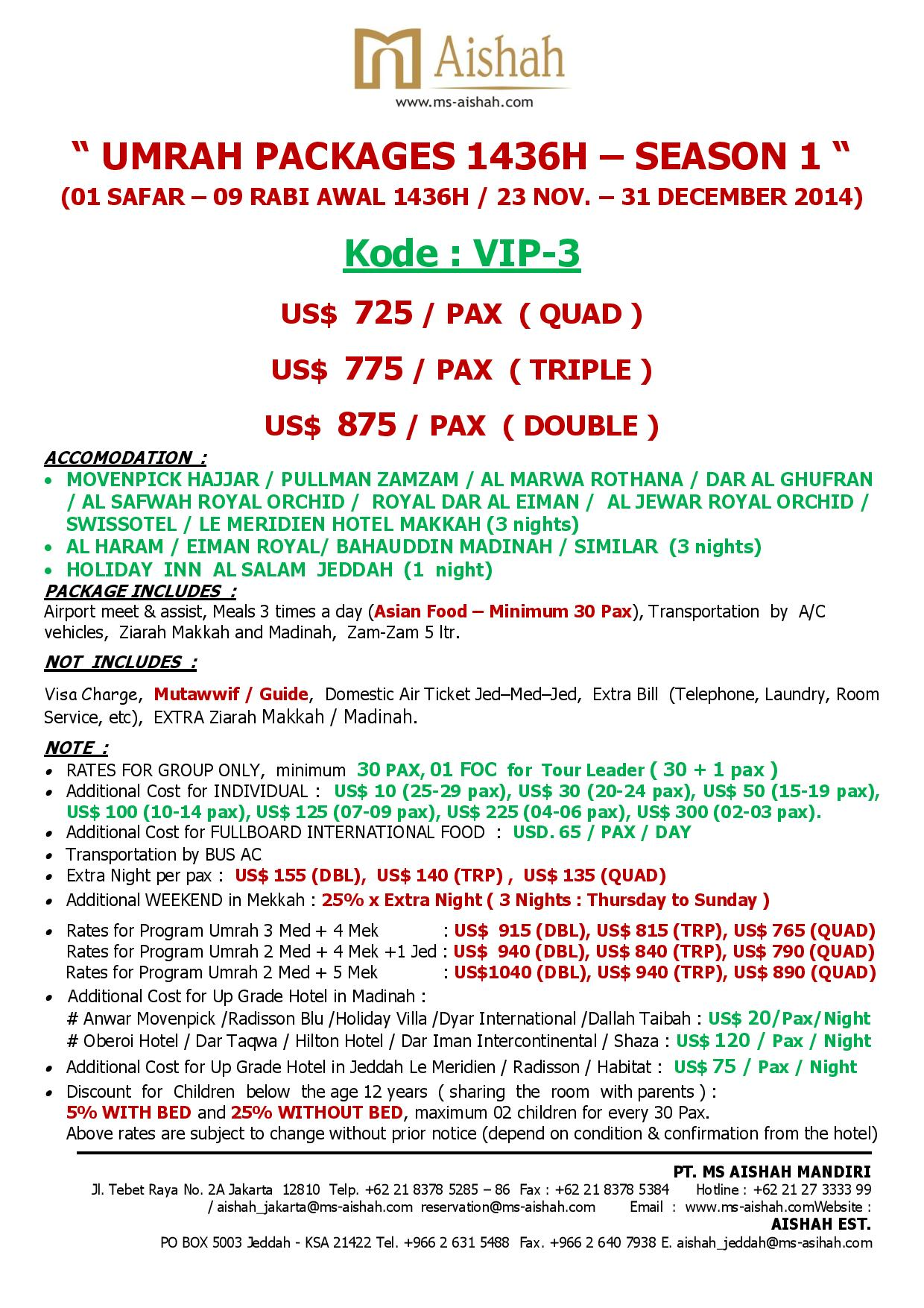 SPECIAL OFFER UMRAH 1436H SEASON 1 - 23 NOVEMBER - 31 DECEMBER 2014 -vip 3